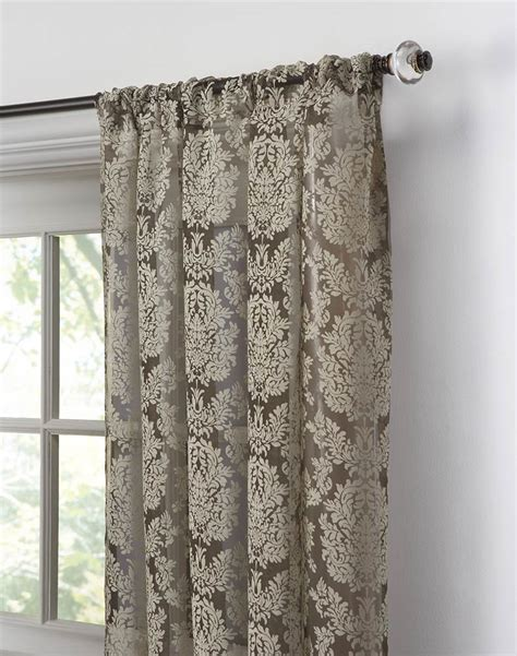 curtain top traditional damask lace pole top panel chocolate