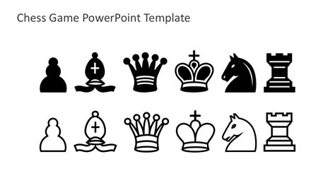Chess Pieces Outline by Free Chess Powerpoint Template
