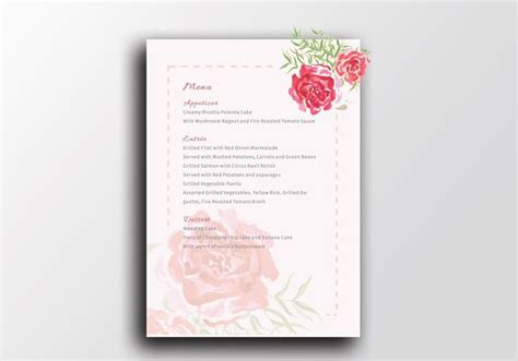 watercolour wedding print menu template a5 the smell of