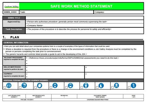 method of procedure template safe work method statement template landscape