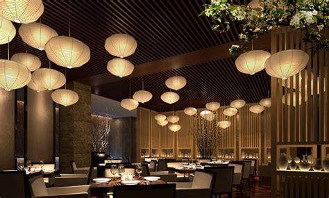 restaurant design ideas wood wall and ceiling with bamboo ls in restaurant
