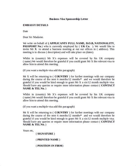 sponsor letter template for visa 8 sle visa sponsorship letters pdf doc sle