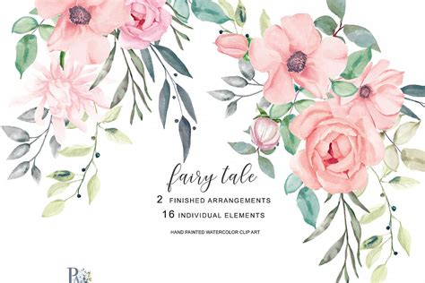 blush colored flowers blush watercolor flowers clipart
