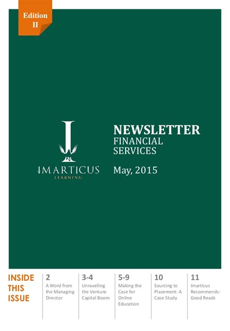 Financial Services Newsletter imarticus learning corporate newsletter on financial services