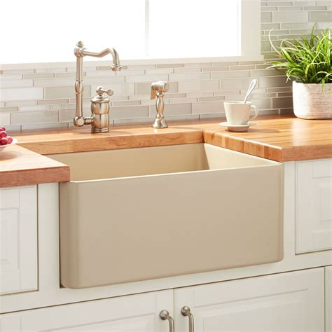 Beige Kitchen Sinks 20 Quot Reinhard Fireclay Farmhouse Sink Beige Kitchen