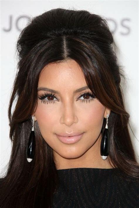 kim kardashian half up half down hairstyles kim k half up half down hair style hair styles pinterest