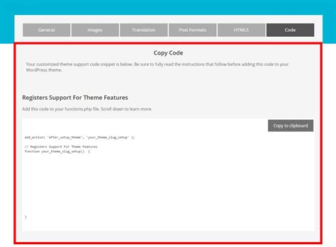theme support generator add theme support wordpress snippet generator