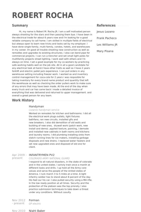Handyman Sample Resume by Handyman Resume Samples Visualcv Resume Samples Database