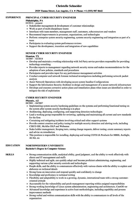 Cyber Security Resume by Cyber Security Engineer Resume Sles Velvet