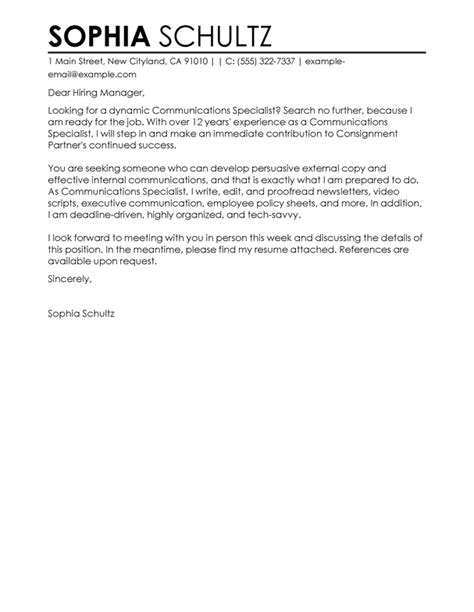 Market Specialist Cover Letter by Best Communications Specialist Cover Letter Exles Livecareer