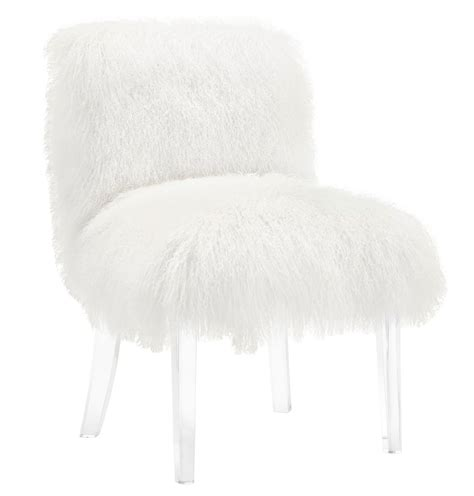 fluffy shaggy white goat skin wood chair