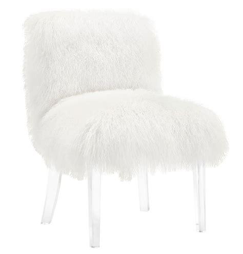 Fluffy shaggy white goat skin amp wood chair