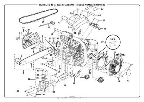 homelite chainsaw parts diagram homelite chain saw ut 10532 parts diagram for chain saw