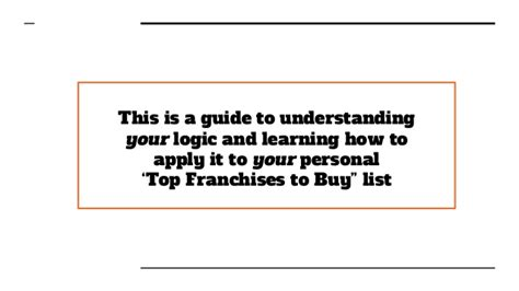 best franchise to buy how to determine your personal top franchises to buy