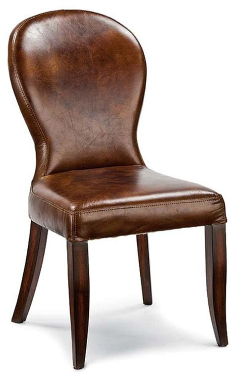 bunyan rustic lodge brown leather upholstered dining chair