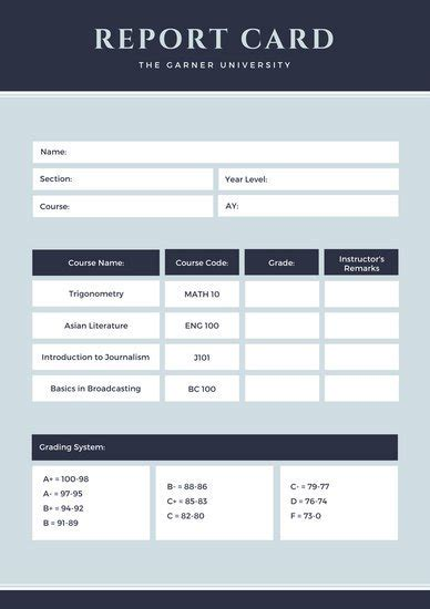 Report Card Email Template by College Poster Templates Canva