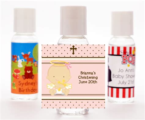 Giveaways For Christening Baby Girl - angel baby girl caucasian baptism christening hand sanitizer favors