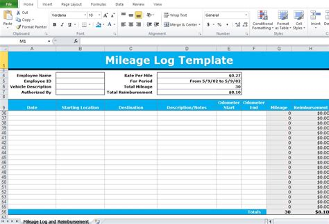 Mileage Excel Spreadsheet by Mileage Log Excel Template Excel Tmp