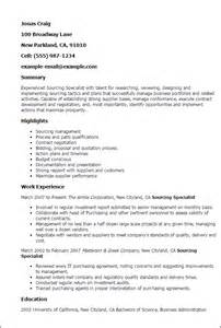 Sourcing Executive Sle Resume by Professional Sourcing Specialist Templates To Showcase Your Talent Myperfectresume