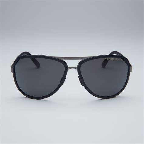 14 Designer Sunglasses by Porsche Titanium Sunglasses Black Gunmetal Frame Grey