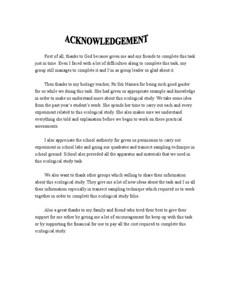 Project Report Acknowledgement Letter Sles Acknowledgement Soil