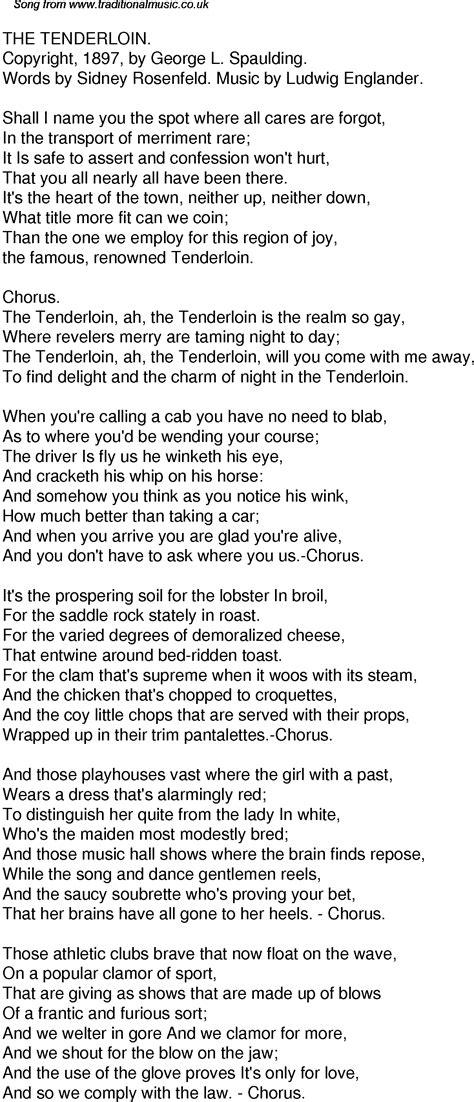 Old Time Song Lyrics for 56 The Tenderloin