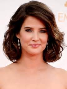 Smulders short haircut dark brown curly bob hairstyle for thick hair
