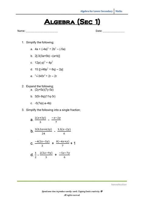 in section 1 algebra sec 1 worksheet hannahtuition