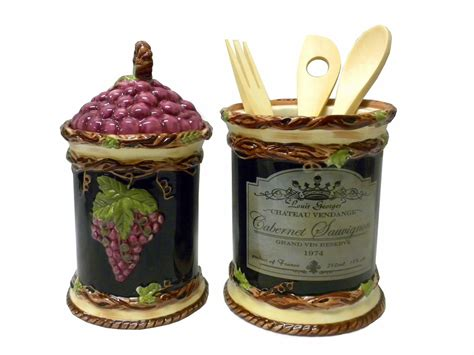 wine kitchen canisters set of 2 wine vineyard tuscany theme kitchen canister jar and utensil holder ebay