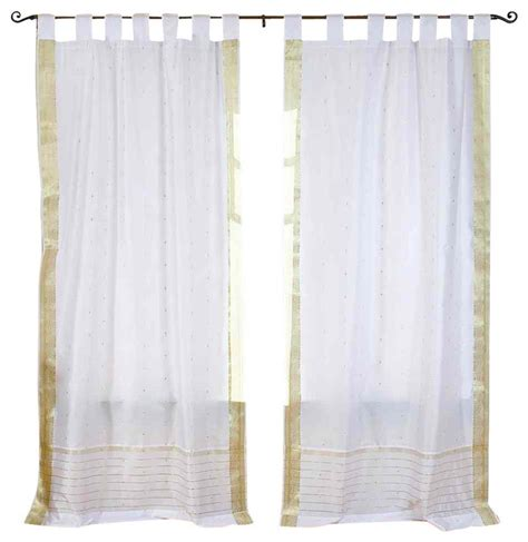 Silver Sheer Curtains White Silver Tab Top Sheer Sari Curtain Drape And Panel Pair Traditional Curtains By