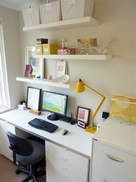 floating shelves above office desk baby