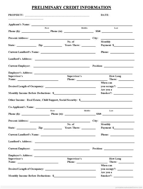 Credit Application Form Printable Real Estate Credit Application Form Free Printable