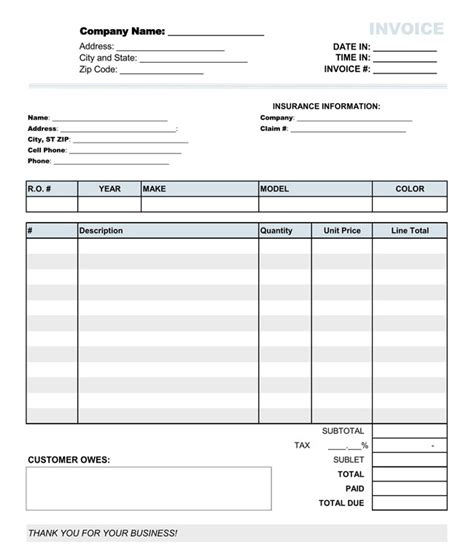 auto repair receipt template auto repair invoice templates 10 printable and fillable