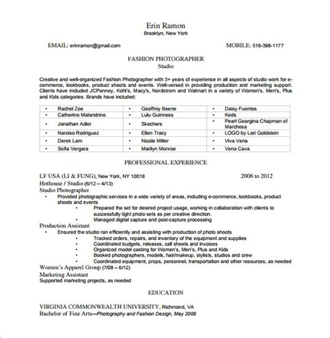 resume format for fashion designer pdf 9 photographer resume templates doc excel pdf free