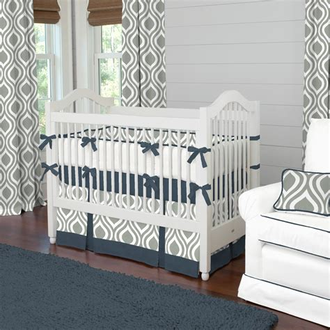 Boys Crib Set by Gray And Navy Raindrops Crib Bedding Boy Baby Bedding