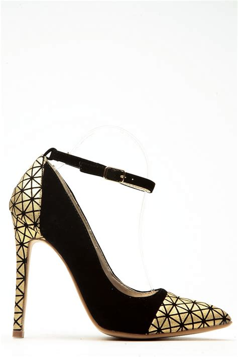 Fladeo Heels Gold No 39 black and gold faux suede pointed toe ankle heels