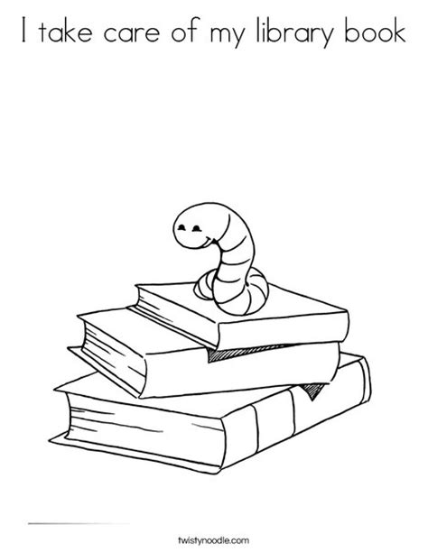 color my coloring book two books i take care of my library book coloring page twisty noodle