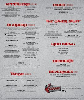 the garage menu omg you tasted this an egg on a burger and other