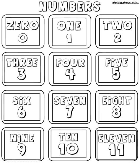 english numbers coloring pages easy math worksheets coloring pages to download and print