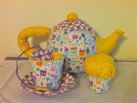 Handmade Fabric Toys - birthday 5 tea set handmade fabric toys available