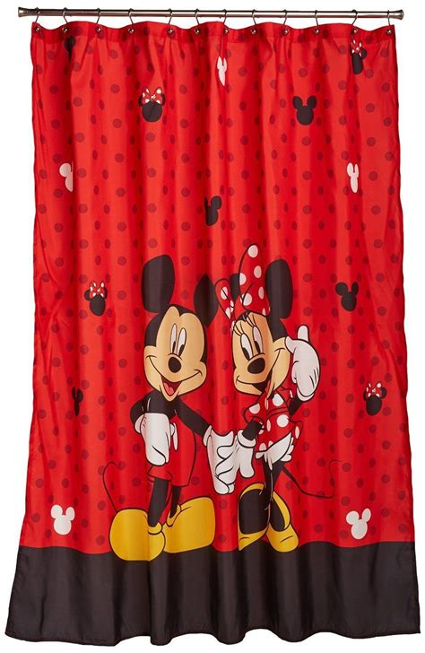 mickey and minnie curtains mickey minnie mouse fabric shower curtain bathroom fun