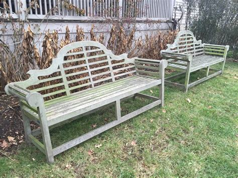 long garden bench long pair of teak lutyens benches at 1stdibs