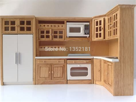 1 12 cute dollhouse miniature integral kitchen furniture