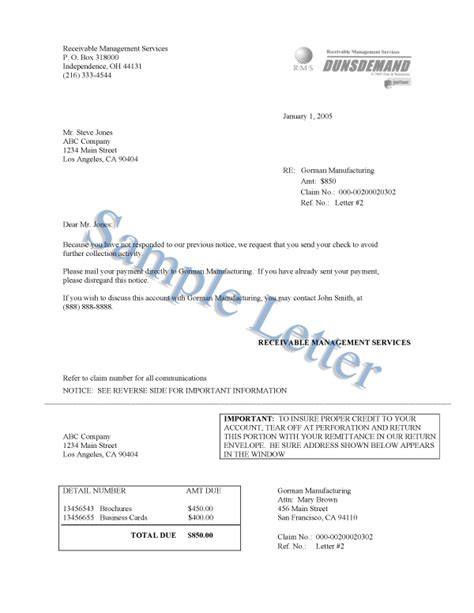 Service Recovery Letter Exles Dunsdemand Sle Letters D B Debt Collection
