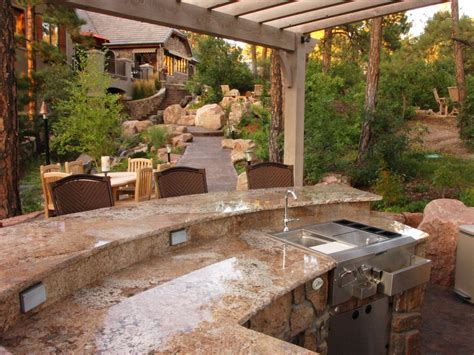 backyard kitchen design ideas cheap outdoor kitchen ideas hgtv