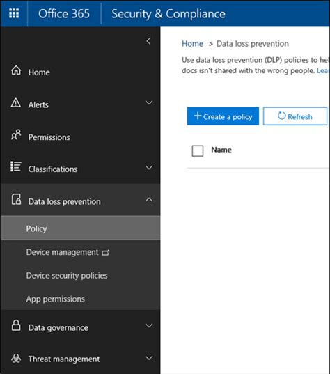 Overview Of Data Loss Prevention Policies Office 365 Data Loss Prevention Policy Template