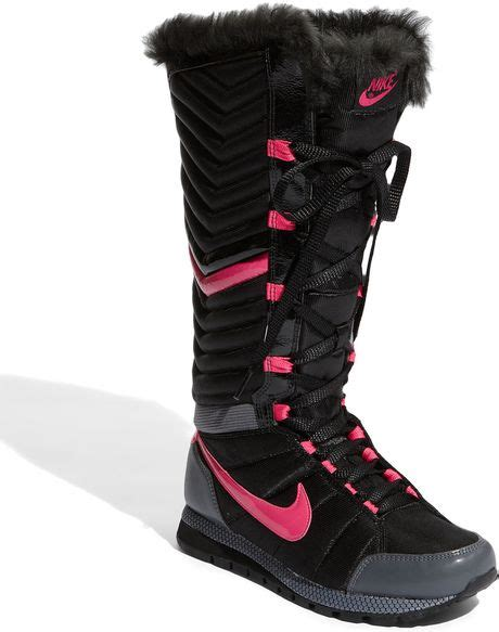 nike winter boots for nike winter solstice boot in black black pink lyst