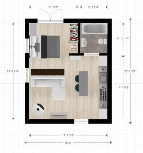 Layout Plan Of Studio Apartment | 20ftx24ft cabin or studio apartment layout compact