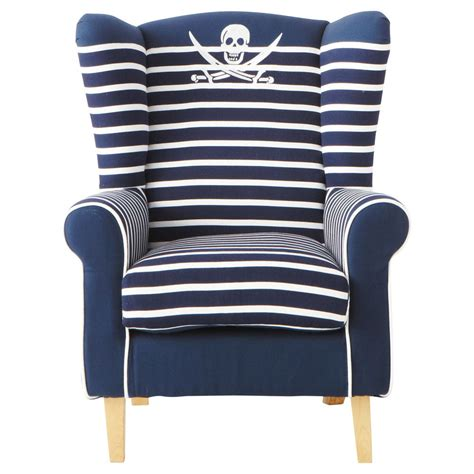 cotton child s armchair in navy blue stripe pirate