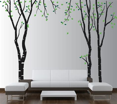 vinyl wall decal forest tree large wall birch tree decal forest vinyl sticker removable leaves nursery ebay